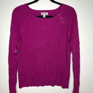 3/$20 St Johns Bay Cable Knit Sweater Magenta M